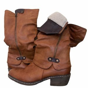 RIEKER shearling lined slouch leather boots